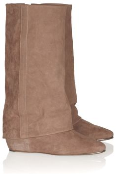 Suede and textured-leather boots by See by Chloé