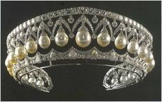 """Pearl and Diamond Tiara made originally for Alexandra Federovna, the wife of Nicholas I. It was sold to the Duke of Westminster and then was sold to, of all people, Imelda Marcos."""""""