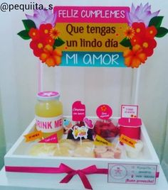Breakfast sorprise love new Ideas Bussines Ideas, Breakfast For A Crowd, Wooden Gift Boxes, Candy Bouquet, Ideas Para Fiestas, Chocolate Gifts, Party Snacks, Holidays And Events, Gift Baskets