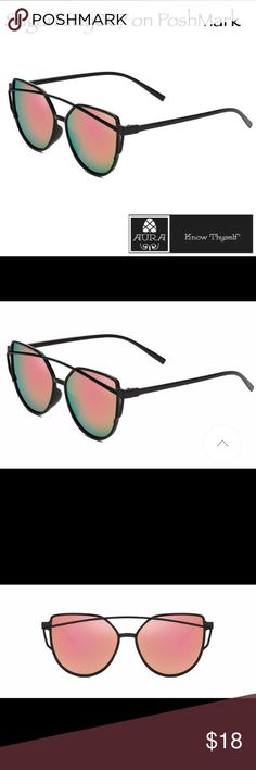 Pink/Green Mirror Fade Cat Eye Sunglasses The cat's out of the bag and these trendy shades will surely attract attention. 100%  plastic black frame with pink/geeen fade mirrored cat eye shaped lenses. Goes great with all personal styles whether you were a boho babe, sophisticated lady or sporty gal! Bundle these with more amazing items from Aüra to save 10%! Only the best from Aüra! Aura Accessories Glasses