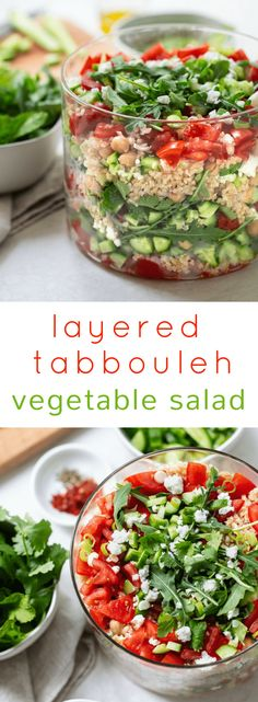 Make-ahead vegetable tabbouleh salad is a perfect healthy potluck salad or meal plan salad, packed with colorful Mediterranean ingredients and flavor. Healthy Potluck, Potluck Salad, Salad Recipes Healthy Lunch, Potluck Dinner, Healthy Eating, Clean Eating, Salad Recipes Video, Recipe Pasta, Salads