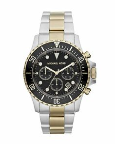 Michael Kors Oversized Two-Tone Stainless Steel Everest Chronograph Watch.