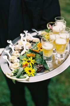 fresh flowers on food tray
