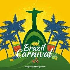 More than a million free vectors, PSD, photos and free icons. Exclusive freebies and all graphic resources that you need for your projects Carnival Posters, Carnival Themes, Carnival Tattoo, Beer Logo Design, Carnival Background, Brazil Carnival, Dance World, Vector Photo, Backgrounds Free