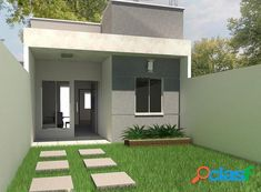Small House Layout, Small House Design, Small House Plans, House Layouts, Tyni House, House With Porch, Facade House, Modern House Facades, Modern Bungalow House