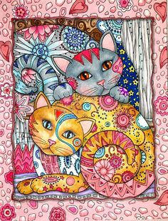 Hand Painted Twin Kitties in Brilliant Hand by extremecolorist