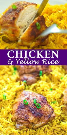 This easy and flavorful Chicken and Yellow Rice Skillet makes a quick and delicious dinner for the whole family. This is a MUST TRY recipe. Yellow Rice Recipes, Easy Rice Recipes, Easy Chicken Recipes, Easy Dinner Recipes, Easy Meals, Baked Chicken And Yellow Rice Recipe, Chicken Flavored Rice, Dinner Ideas, Enjoy Your Meal