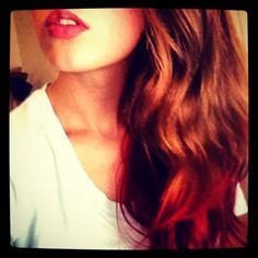 Brown to red ombré hair. DIY dip dye with fruit punch Kool Aid.