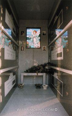 West Memorials - interior view of Freede Family mausoleum Graveyards, Design Development, Temple, Death, Memories, Architecture, Building, House, Grave Decorations