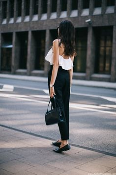"justthedesign: "" White open backed shirts look great with high waisted black trousers. Via Beatrice Gutu Top: Misguided, Trousers: Zara, Shoes: Mango "" Love Fashion, Fashion Beauty, Fashion Outfits, Womens Fashion, Net Fashion, Young Fashion, Style Fashion, High Waisted Black Trousers, Black Pants"