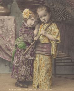 Hand-Tinted 1900s Image of Children in Japanese Costume at redpoulaine