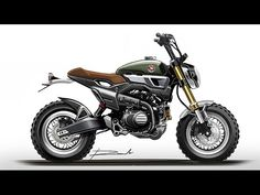 Custom Honda Grom Scrambler Concept One & Two Concept Motorcycles, Yamaha Motorcycles, Custom Motorcycles, Honda Grom, Grom Bike, Bike Sketch, Motorbike Design, Bike Pic, Bike Illustration