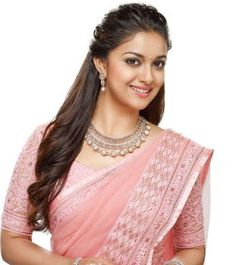 Keerthy Suresh in Rose Color Saree with Cute and Lovely Smile, Keerthy Suresh latest Images. Dress Neck Designs, Saree Blouse Designs, Beautiful Saree, Beautiful Indian Actress, Khadi Saree, Sarees, Bridal Jewellery Inspiration, Saree Hairstyles, Indian Bridal Fashion