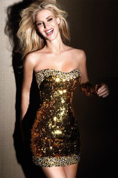 Fully beaded glittering strapless sweetheart paillettes short dress from Alyce Claudine Collection.