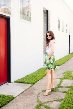 Palm Print Party Skirt - Dallas Wardrobe