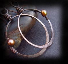 Rustic Copper Hoop Earrings - Wire Wrapped Jewelry Handmade - Wire Wrapped Pearls on Artisan Handmade Antiqued Copper Earwires - GAIA HOOPS