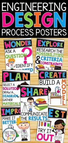 Engineering Design Process Posters Elementary STEM Engineering Design Process Posters Elementary STEM – Decorate your classroom or maker space with this set of STEM posters. Science Lessons, Science Education, Teaching Science, Teaching Ideas, Elementary Science Classroom, Stem Teaching, Science Inquiry, Kindergarten Science, Anchor Charts