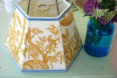 Gold Uno Lamp Shade Toile Lampshade - 7x12x8 hex bridge lampshade, French designer fabric shade by lampshadelady on Etsy