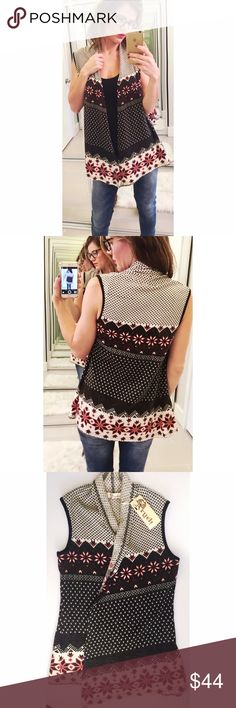 ➡️NWT Anthropologie Aryeh Boho Print Vest⬅️ I love this cozy sweater vest. It goes with everything and looks so cute. Definitely keeps you warm, too. 💕Offers welcome. Take 30% off your entire purchase automatically at checkout when you use the bundle feature, or ask me to create a custom  bundle for you. Happy Poshing!💕 Anthropologie Jackets & Coats Vests