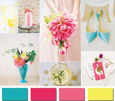 wedding colors 2014-aqua pink and yellow