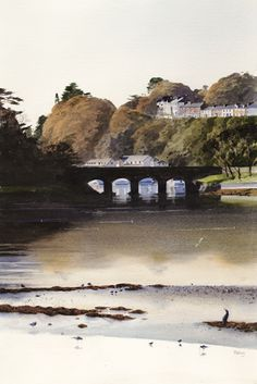 Brittania Bridge, Porthmadog, an original watercolour painting by Rob Piercy