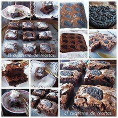 Un riquísimo Brownie de Galletas Oreo. La receta, en mi blog: http://elcuadernoderecetas.blogspot.com.es/2013/05/brownie-de-galletas-oreo_27.html