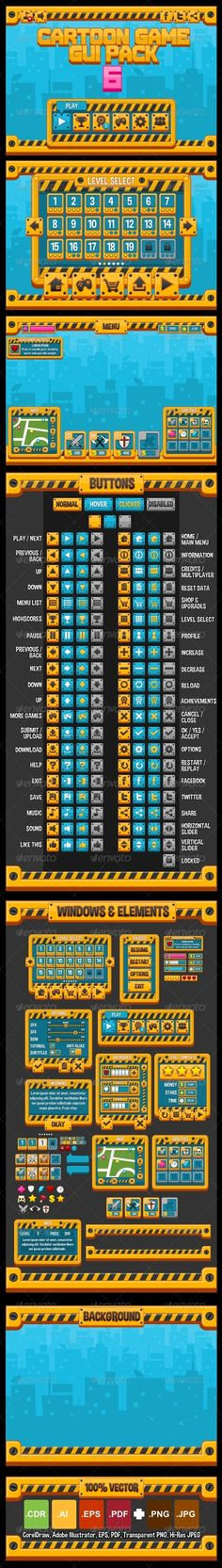 Cartoon Games GUI Pack 6  #GraphicRiver         A complete set of graphical user interface (GUI) to build 2D video games.   Suitable for city construction, simulation, rampage, builder, demolition, urban, racing, industrial, or factory game theme.   - 42 iconic buttons   - Text mode and level buttons also provided   - Pre-made windows, HUD, and other elements   - Bonus background   - Full vector. So it's customizable and resizeable.   - Text is not editable & font is not included…