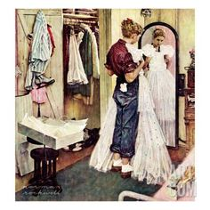 """""""Prom Dress"""", March 19,1949 Giclee Print by Norman Rockwell at Art.co.uk"""