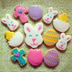 Easter sugar cookies decorated with glaze icing. By Blue Sugar Cookie Co. www.Facebook.com/bluesugarcookieco