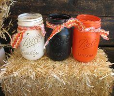Mason Jars Decorative Mason Jars Orange by TheShabbyChicWedding
