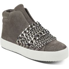 Kendall and Kylie Women's Duke Suede & Chain Trim Sneakers (615 RON) ❤ liked on Polyvore featuring shoes, sneakers, grey, kendall kylie shoes, gray sneakers, grey shoes, grey sneakers and gray shoes