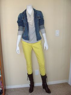 Casual Friday:  CAbi Spring '12 Cropped Bree Jean and Cuffed Up Jacket with vintage Prep School Sweater, dotted scarf and boots.  Perfect for a cold, sunny Friday!