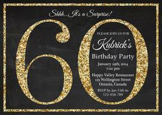 60th birthday invitation. Gold Glitter Birthday Party invite. Adult Surprise Birthday. Elegant. Printable digital DIY. by arthomer on Etsy https://www.etsy.com/listing/181332677/60th-birthday-invitation-gold-glitter