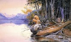 Charles Russell prints - Note: This is a Kootenay [Kootenai] Indian pointed type of canoe as seen in south-eastern BC [Canada] and north-western Montana.