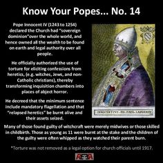 """This is what religion has done for mankind, check out the whole """" know your popes"""" series (if you can stomach it). Illuminati, Atheist Quotes, Quran Quotes, World Religions, Roman Catholic, Catholic Churches, Kirchen, History Facts, Christianity"""