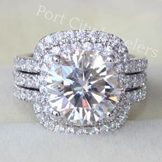 White Gold Center Round Brilliant Cut Moisanite w/ Halo Wedding Engagement Ring & 2 Curved Form Fit Bands Custom Wedding Rings, Gold Wedding Rings, Bridal Rings, Diamond Wedding Bands, Diamond Rings, Wedding Jewelry, Halo Rings, Wedding White, Solitaire Ring