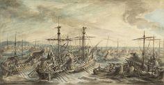Gabriel Jacques de Saint-Aubin, 'The Roman Fleet Victorious over the Carthaginians at the Battle of Cape Ecnomus,' 1763, J. Paul Getty Museum