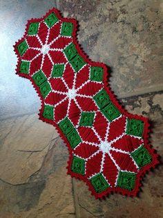 Christmas poinsettia doily, handmade crochet quilt, table a Crochet Santa, Christmas Crochet Patterns, Holiday Crochet, Crochet Gifts, Free Crochet, Christmas Poinsettia, Etsy Christmas, Christmas Crafts, Poinsettia Flower
