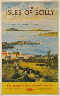 Quad Royal   Scilly Isles via British Railways Vintage poster 1950s