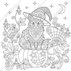Adult Coloring Pages. Halloween Cat. Zentangle Doodle Coloring