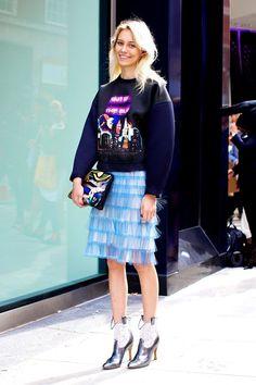 Ideas de look, prendas con flecos. Lo Mejor de Street Style. En tus prendas favoritas, pero también en los accesorios, zapatos y bolsos - los  flecos vuelven esta primavera a lo más alto. Apúntate a los flecos tanto de día como de  noche.