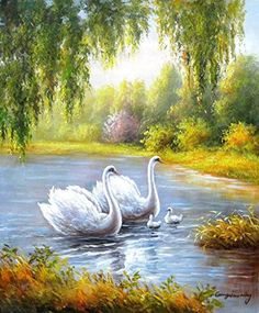 Swans. Original Oil Painting. 100% Hand Painted Oil Painting. 24x35 Inch. Free Shipping (Unframed and Unstretched) -- $99 + Free Shipping
