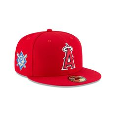 huge discount f1a5b 68bdc ANAHEIM ANGELS JACKIE ROBINSON SIDE PATCH 59FIFTY FITTED Reds Game, New Era  59fifty, Red
