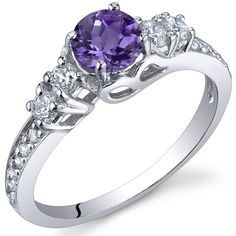 Enchanting 0.50 Carats Amethyst Ring in Sterling Silver Rhodium Nickel Finish Size 5 to 9: Peora: Jewelry - 68% SAVINGS