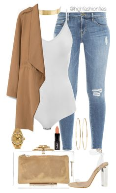 """Yezzy's"" by highfashionfiles ❤ liked on Polyvore featuring Frame Denim, Charlotte Olympia, Intimissimi, Lele Sadoughi, MANGO, Rolex and Jennifer Meyer Jewelry"