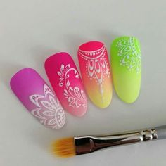 Gel paint - Another! Neon Nail Art, Neon Nails, Pink Nails, Summer Nails Neon, Dream Nails, Love Nails, Pretty Nails, Neon Nail Designs, Acrylic Nail Designs