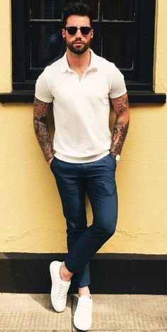Summer outfits men - Casual Summer Outfits Ideas For Men Over 30 33 Outfits Hombre Casual, Indie Outfits, Men's Outfits, Casual Outfits For Guys, Mens Dress Outfits, Trendy Outfits, Fashion Outfits, Jogger Outfit, Chinos Men Outfit