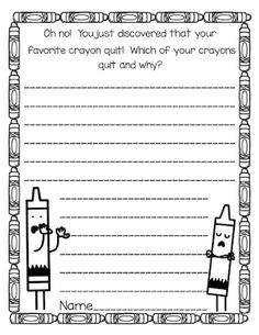 Young Hoosier Award Books: The Day the Crayons Quit with a writing freebie!