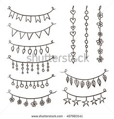 Set of hand drawn vector garlands. Collection of birthday party bunting festive garlands Birthday Doodle, Creative Lettering, Party Bunting, Bullet Journal Inspiration, Bullet Journal Hand Lettering, Hand Lettering Alphabet, Doodle Lettering, Brush Lettering, Caligraphy Alphabet