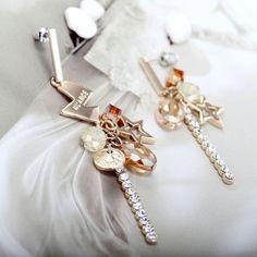 Crystal Rhinestone Asymmetrical Charm Earrings